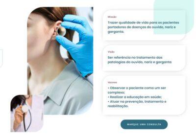 screenshot site doutora raquel coelho otorrino missao visao e valores