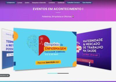 Screenshot site faculdade soberana eventos