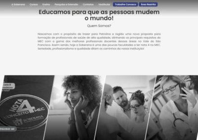 Screenshot site faculdade soberana sobre