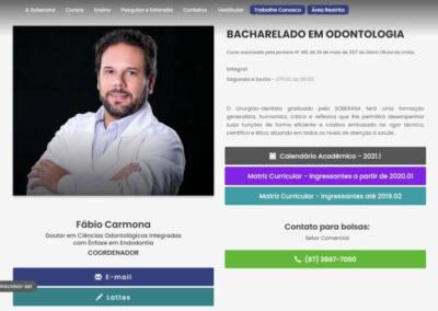 Screenshot site faculdade soberana odontologia