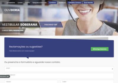 Screenshot site faculdade soberana ouvidoria
