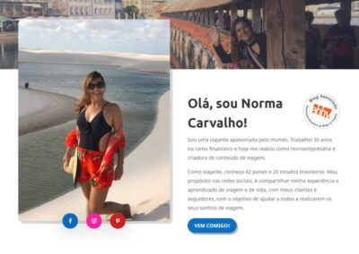 Screenshot Site Blog Viaje com Norma Quem Somos
