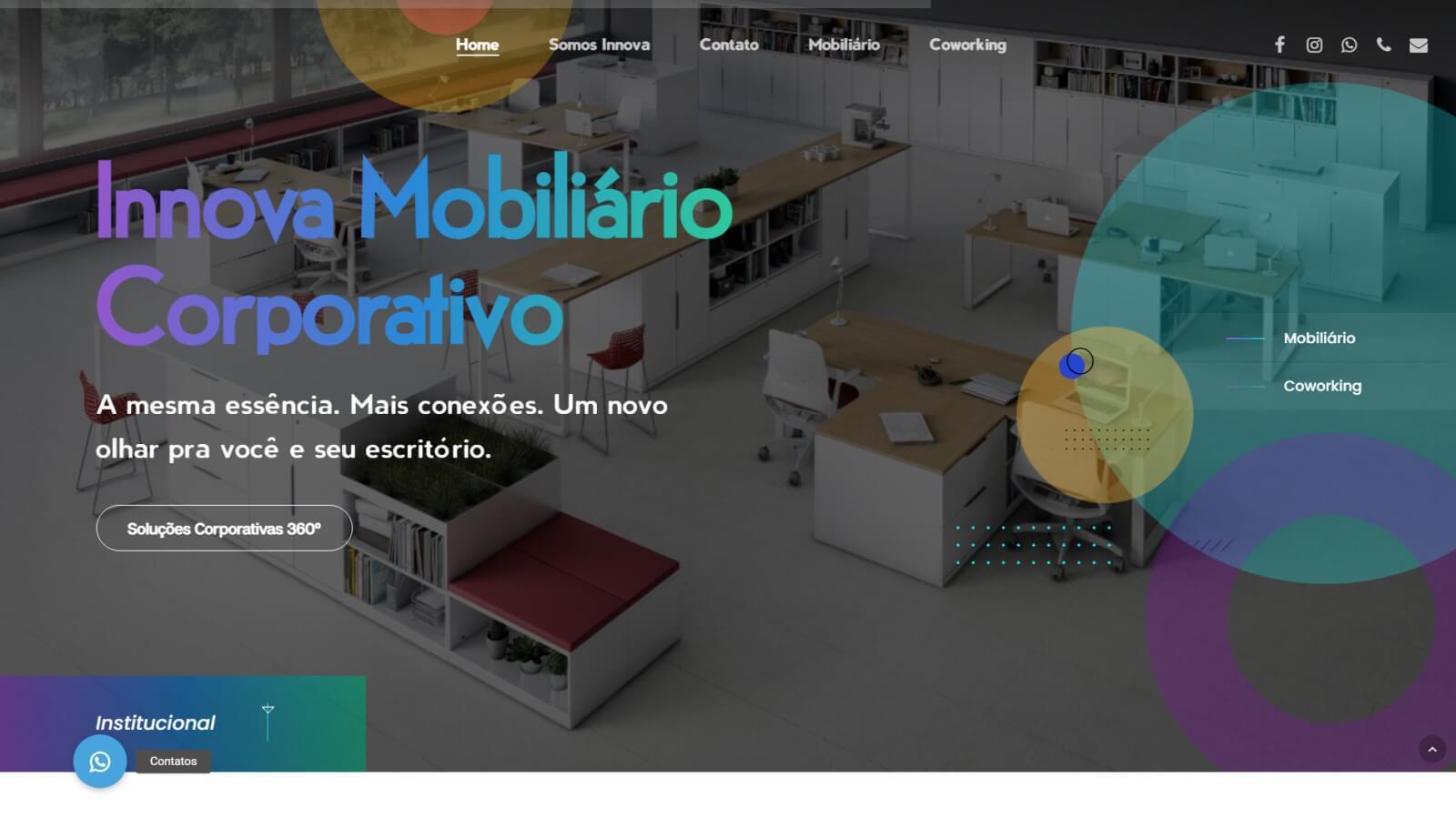 Screenshot site Corporação Innova
